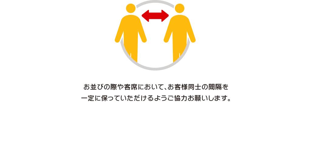 お並びの際や客席において、お客様同士の間隔を一定に保っていただけるようご協力お願いします。