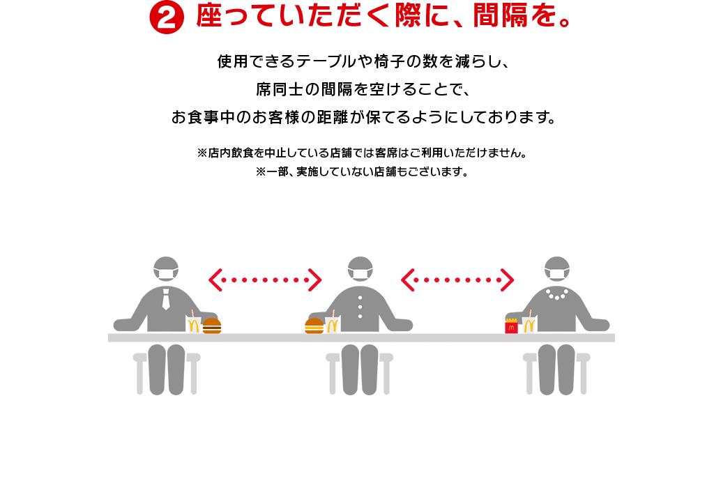 ②座っていただく際に、間隔を。使用できるテーブルや椅子の数を減らし、席同士の間隔を空けることで、お食事中のお客様の距離が保てるようにしております。