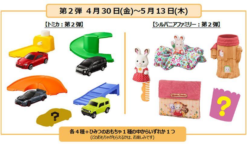 ハッピーセット「トミカ」「シルバニアファミリー」販売概要 第2弾 4月30日(金)~5月13日(木)