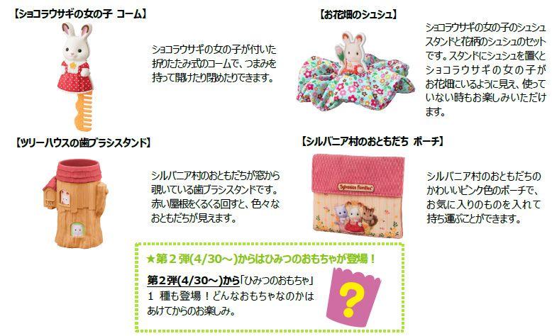 【ハッピーセット「シルバニアファミリー」おもちゃ概要】◆第2弾 4月30日(金)~5月13日(木)